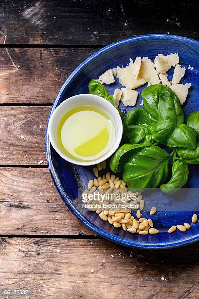 Pesto Ingredients On Wooden Surface