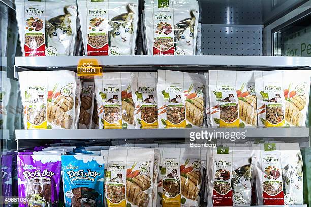 Pet food is displayed in a refrigerated case at the Freshpet Inc production facility in Bethlehem Pennsylvania US on Monday Nov 9 2015 Freshpet...