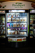 Pet food is displayed in a refrigerated cases at the Freshpet Inc production facility in Bethlehem Pennsylvania US on Monday Nov 9 2015 Freshpet...