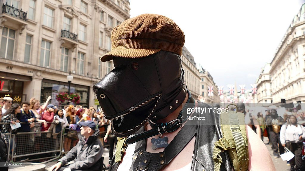 'Pet Play' enthusiats dress and behave as dogs during a march as the LGBT community celebrates Pride in London on June 25, 2016 in London, England. Across the city performances and speeches take place as a parade makes it way through the centre ending in Trafalgar Square. 2016 Pride in London comes just two weeks after Omar Mateen shot dead 50 people at Pulse, a gay nightclub in Orlando, Florida.