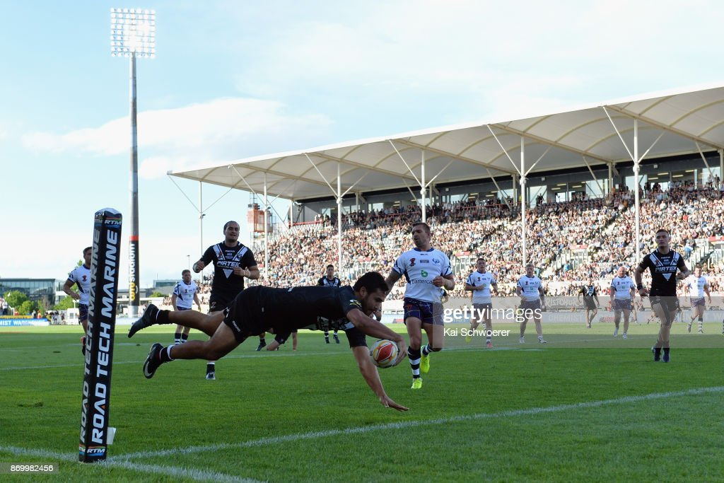 Peta Hiku of the Kiwis dives over to score a try during the 2017 Rugby League World Cup match between the New Zealand Kiwis and Scotland at AMI Stadium on November 4, 2017 in Christchurch, New Zealand.
