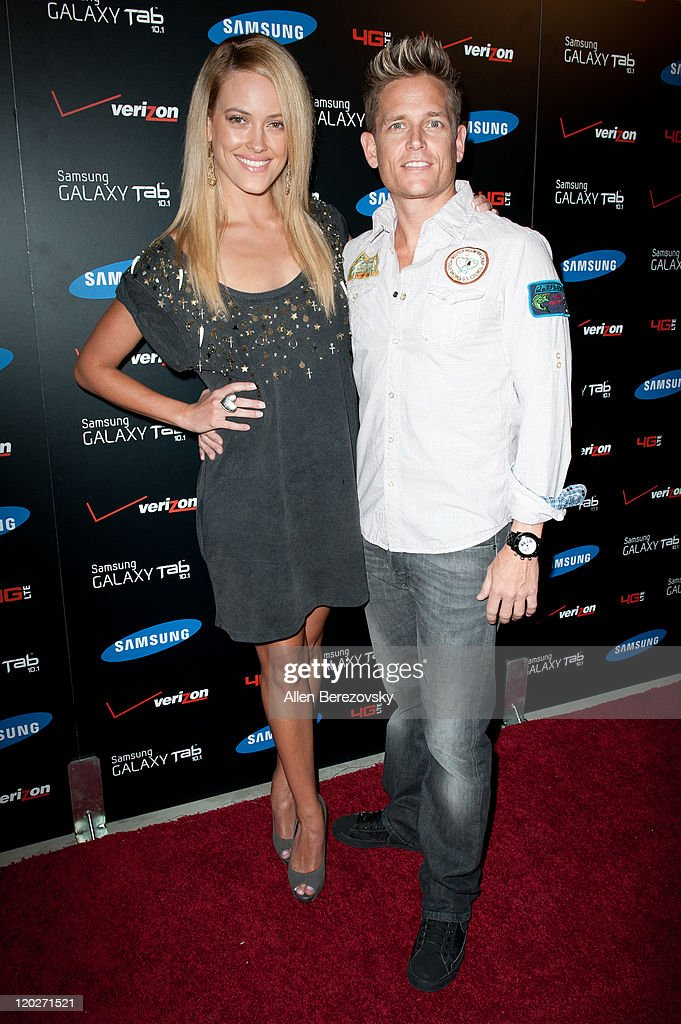 Peta Murgatroyd and Damian Whitewood arrive at the Samsung Galaxy Tab 10.1 launch party at The Beverly on August 2, 2011 in Los Angeles, California.