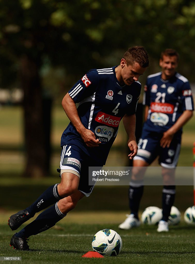 Petar Franjic controls the ball during a Melbourne Victory A-League training session at Gosch's Paddock on November 20, 2012 in Melbourne, Australia.