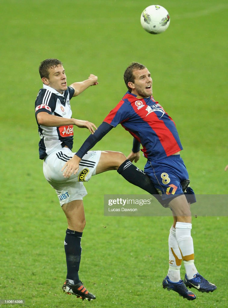 Petar Franjic of the Victory is challenged by <a gi-track='captionPersonalityLinkClicked' href=/galleries/search?phrase=Jeremy+Brockie&family=editorial&specificpeople=591299 ng-click='$event.stopPropagation()'>Jeremy Brockie</a> of the Jets during the round 22 A-League match between the Melbourne Victory and the Newcastle Jets at AAMI Park on March 3, 2012 in Melbourne, Australia.