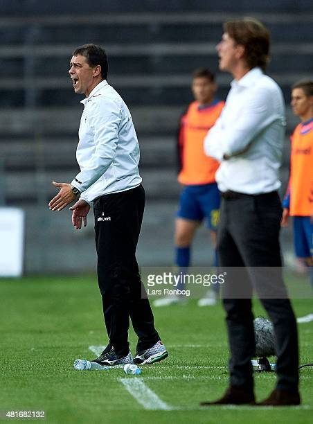 Petar Houbchev head coach of PFC Beroe Stara Zagora gives instructions during the UEFA Europa League Qualification match between Brondby IF and PFC...