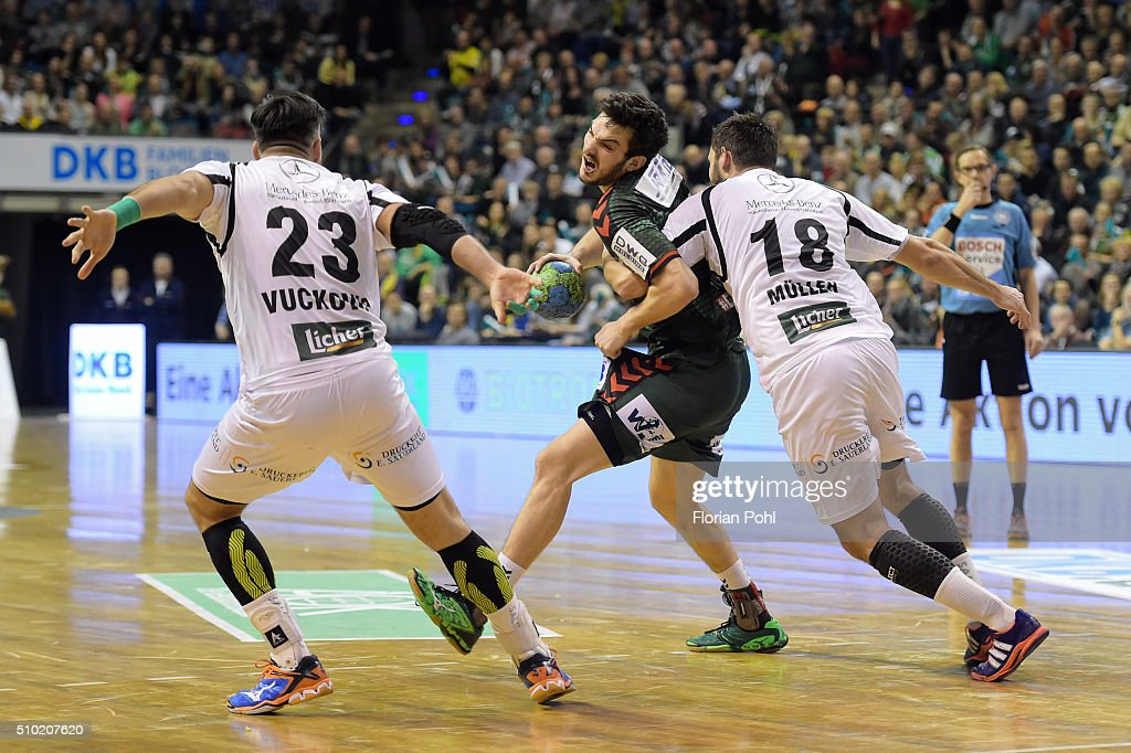 Petar Nenadic of Fuechse Berlin, Nenad Vuckovic of MT Melsungen and Philipp Mueller of MT Melsungen during the game between Fuechse Berlin and MT Melsungen on February 14, 2016 in Berlin, Germany.
