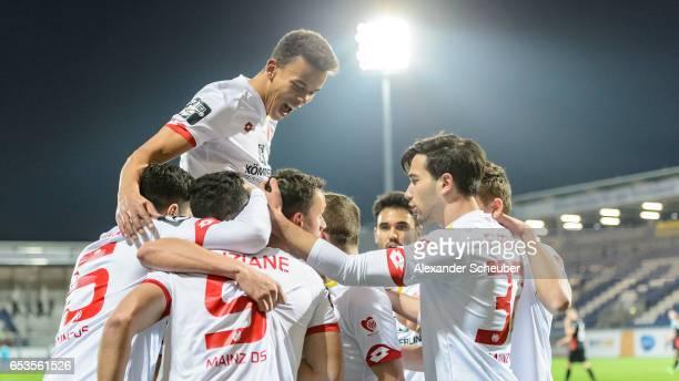 Petar Sliskovic of Mainz celebrates the first goal for his team during the Third League match between SV Wehen Wiesbaden and FSV Mainz 05 II at...