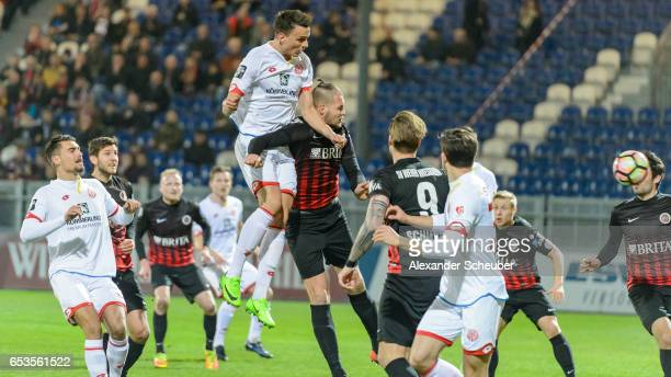 Petar Sliskovic of Mainz scores the first goal for his team during the Third League match between SV Wehen Wiesbaden and FSV Mainz 05 II at...