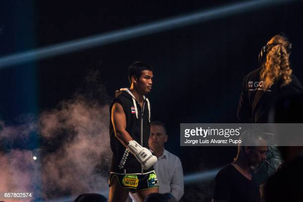 Petchpanomrung Kiatmookao of Thailand fight against Aleksei Ulianov of Russia during Glory Contenders tournament at Forest National Arena on March 25...
