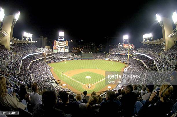 A Petco Park record crowd of 45389 watches San Diego Padres' final home game of the inaugural season against the San Francisco Giants in San Diego...