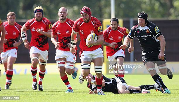 Pete Browne of London Welsh charges upfield during the Aviva Premiership match between London Welsh and Exeter Chiefs at the Kassam Stadium on...