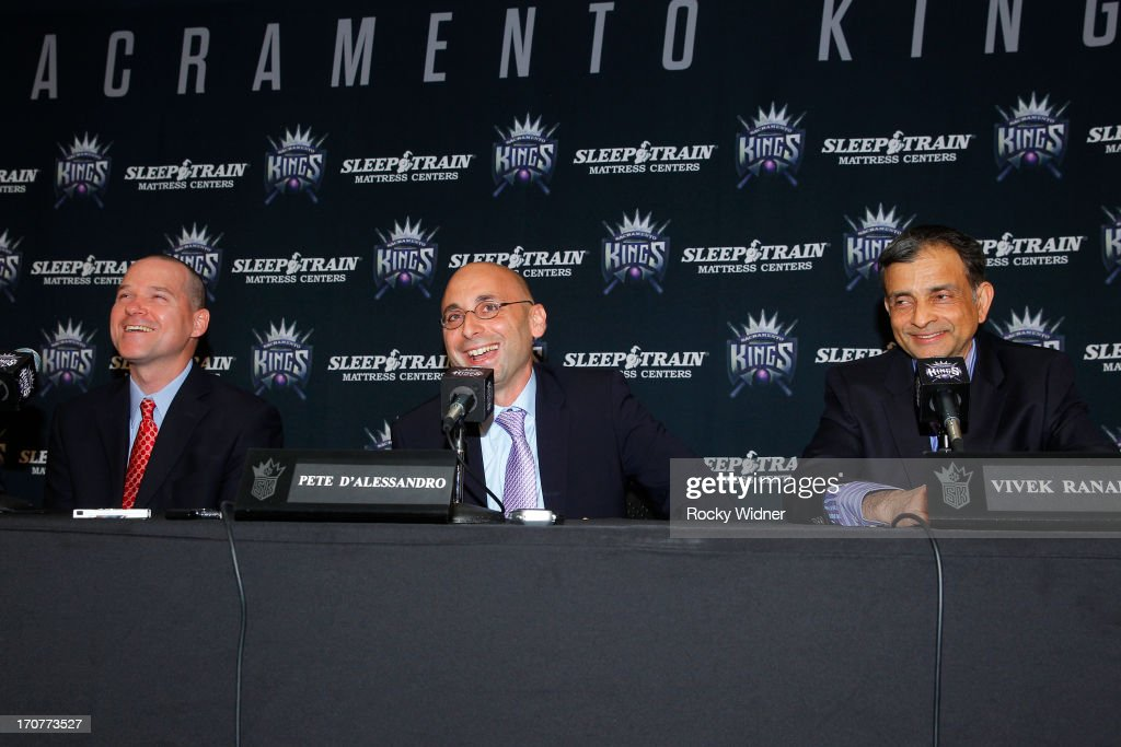 Pete D'Alessandro addresses the media as he is announced as the new General Manager of the Sacramento Kings on June 17, 2013 at Sleep Train Arena in Sacramento, California.