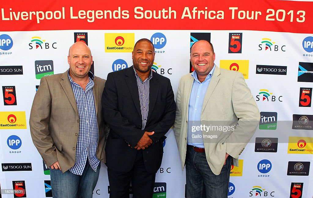 Pete de Wet , John Barnes and Ian Riddick during the Launch of the Liverpool FC Legend Tour press conference announcement from Moses Mabhida Stadium on October 03, 2013 in Durban, South Africa.