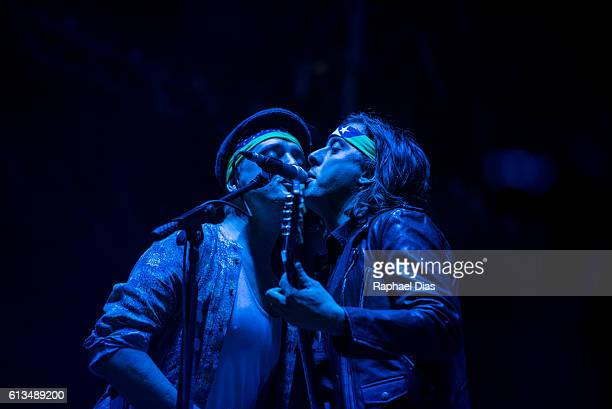 Pete Doherty and Carl Barat from The Libertines perform in the Popload Festival at Urban Stage on October 8 2016 in Sao Paulo Brazil