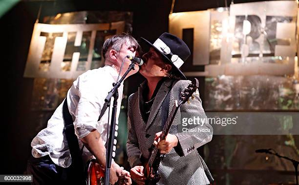 Pete Doherty and Carl Barat of The Libertines perform at O2 Academy Brixton on September 7 2016 in London England