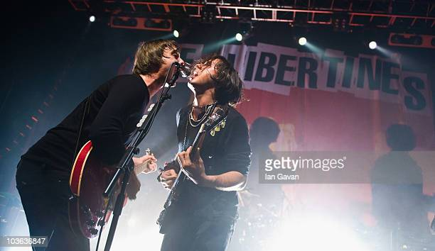 Pete Doherty and Carl Barat of The Libertines perform live at The Forum on August 25 2010 in London England
