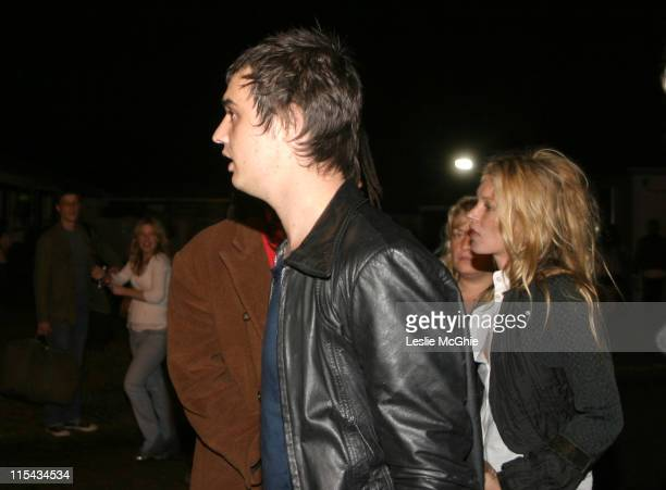 Pete Doherty and Kate Moss during Pete Doherty and Kate Moss Backstage At The 02 Wireless Festival June 30 2005 at Hyde Park in London Great Britain