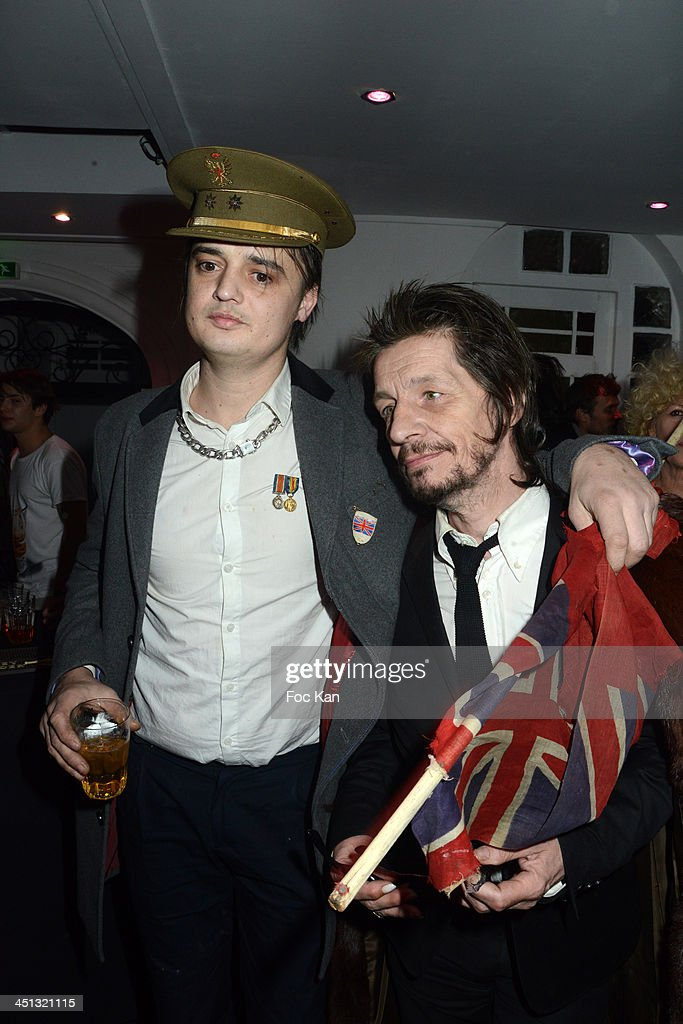 Pete Doherty and Patrick Eudeline attend the 'Flags From The Old Regime' : Pete Doherty and Alize Meurisse Paintings Exhibition Preview At Espace Djam on November 21, 2013 in Paris, France.