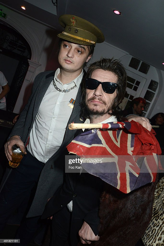 <a gi-track='captionPersonalityLinkClicked' href=/galleries/search?phrase=Pete+Doherty&family=editorial&specificpeople=203256 ng-click='$event.stopPropagation()'>Pete Doherty</a> and Patrick Eudeline attend the 'Flags From The Old Regime' : <a gi-track='captionPersonalityLinkClicked' href=/galleries/search?phrase=Pete+Doherty&family=editorial&specificpeople=203256 ng-click='$event.stopPropagation()'>Pete Doherty</a> and Alize Meurisse Paintings Exhibition Preview At Espace Djam on November 21, 2013 in Paris, France.