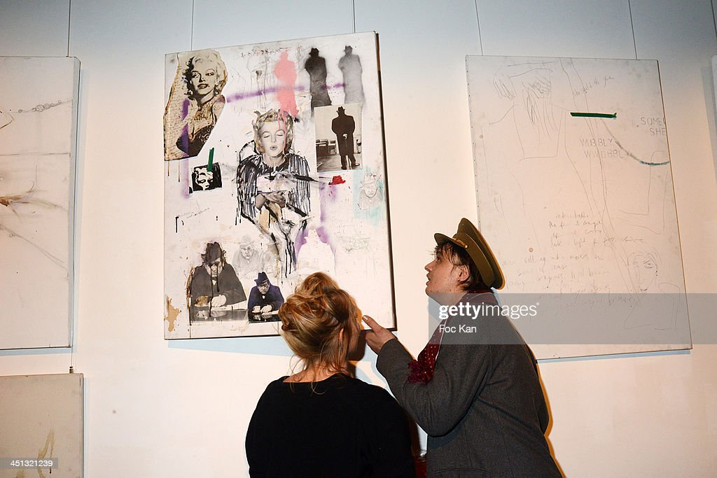 Pete Doherty attends the 'Flags From The Old Regime' : Pete Doherty and Alize Meurisse Paintings Exhibition Preview At Espace Djam on November 21, 2013 in Paris, France.