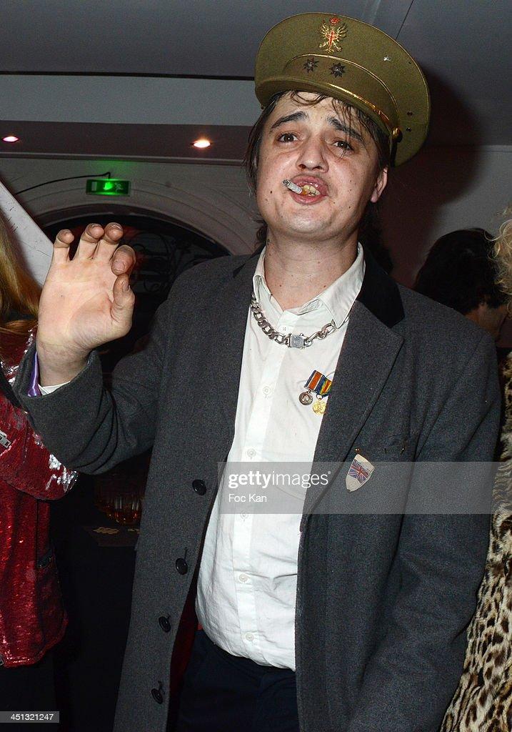 <a gi-track='captionPersonalityLinkClicked' href=/galleries/search?phrase=Pete+Doherty&family=editorial&specificpeople=203256 ng-click='$event.stopPropagation()'>Pete Doherty</a> attends the 'Flags From The Old Regime' : <a gi-track='captionPersonalityLinkClicked' href=/galleries/search?phrase=Pete+Doherty&family=editorial&specificpeople=203256 ng-click='$event.stopPropagation()'>Pete Doherty</a> and Alize Meurisse Paintings Exhibition Preview At Espace Djam on November 21, 2013 in Paris, France.