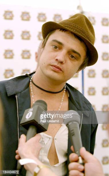 Pete Doherty during 2005 Isle Of Wight Festival Day 2 Backstage at Seaclose Park in Newport Great Britain