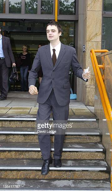Pete Doherty of The Libertines attends his preliminary hearing on possession of an offensive weapon after missing the first hearing on August 10th