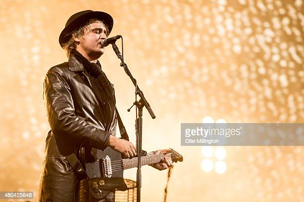Pete Doherty of The Libertines performs onstage on Day 2 of the T in the Park festival at Strathallan Castle on July 11 2015 in Perth Scotland