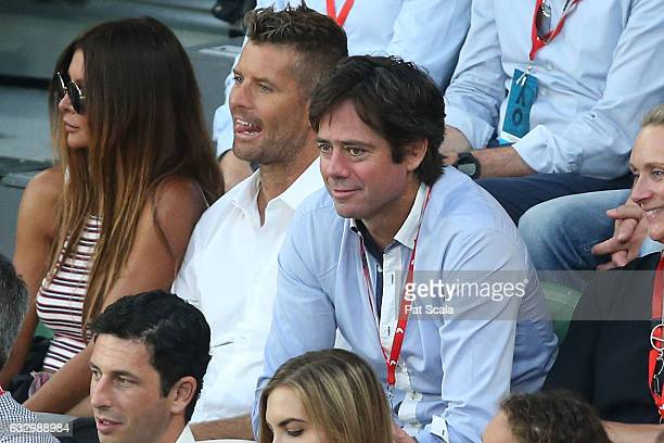 Pete Evans and Gillon McLachlan attend the Men's Singles Final match between Roger Federer of Switzerland and Rafael Nadal of Spain on day 14 of the...