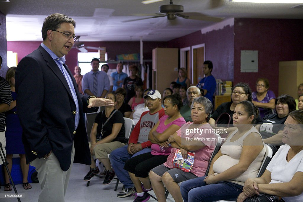 Pete Gallego Texas 23rd District Congressman met with constituents August 20, 2013 in San Elizario, TX . Pete discussed border and water issues with constituents form the the largest House district south of Alaska that isnt a state, that stretches for more than 800 miles along the U.S.-Mexico border.