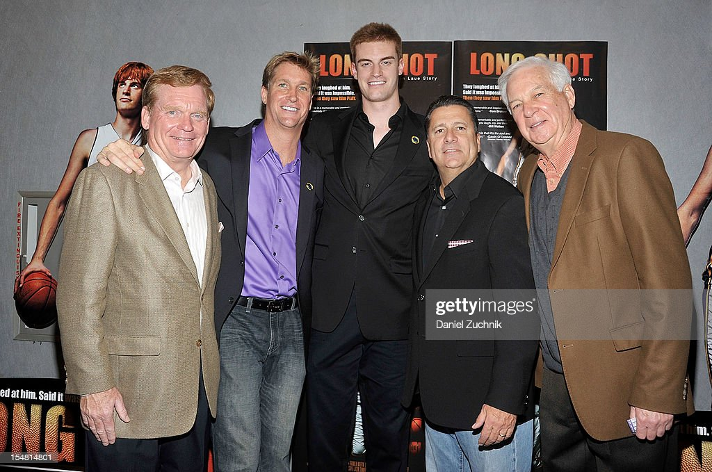 Pete Gillen, Franklin Martin, Kevin Laue, Tom Pecuora and Billy Raftery attend the 'Long Shot: The Kevin Laue Story' New York Premiere at Quad Cinema on October 26, 2012 in New York City.