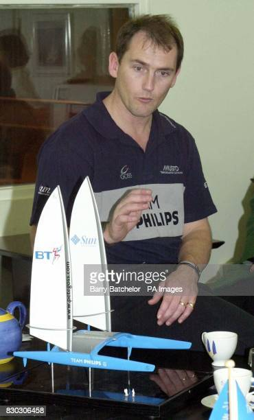 Pete Goss with a model of the catamaran Britains biggest racing yacht at the Team Philips Headquarters in Devon The 4 million carbon fibre is to be...
