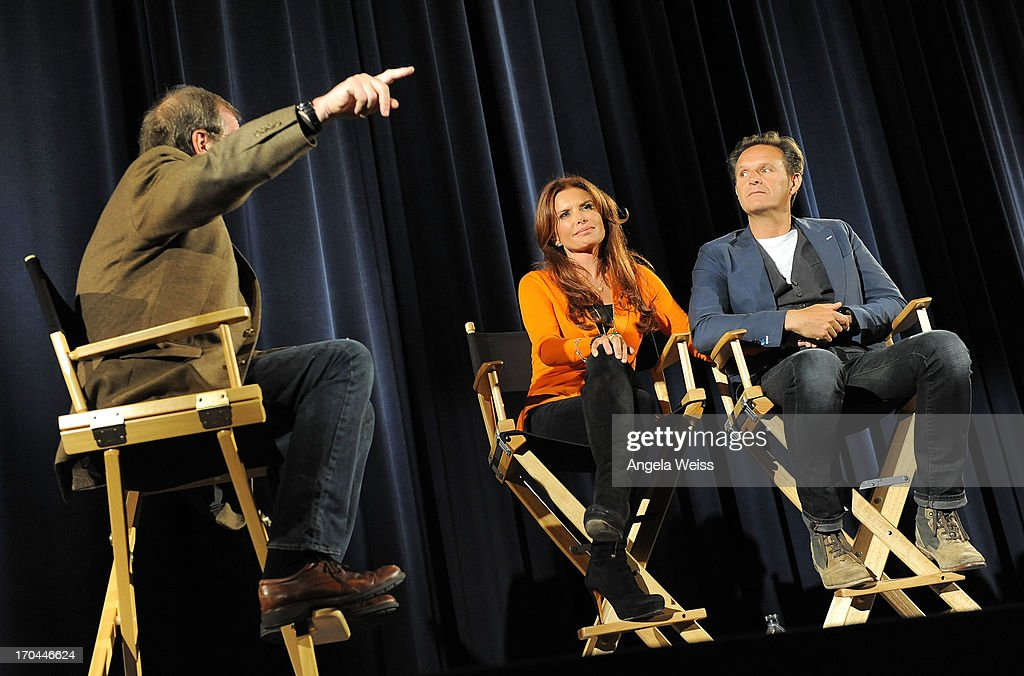 Pete Hammond, executive producers Roma Downey and Mark Burnett attend a special event for History's 'The Bible' at Harmony Gold Theatre on June 12, 2013 in Los Angeles, California.