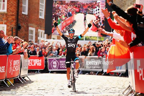 Pete Kennaugh of Team SKY celebrates winning the 2015 British National Championship road race on June 28 2015 in Lincoln England