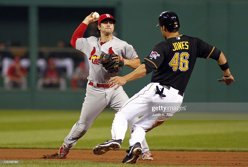 <a gi-track='captionPersonalityLinkClicked' href=/galleries/search?phrase=Pete+Kozma&family=editorial&specificpeople=6800748 ng-click='$event.stopPropagation()'>Pete Kozma</a> #38 of the St. Louis Cardinals attempts to turn a double play in the fourth inning against <a gi-track='captionPersonalityLinkClicked' href=/galleries/search?phrase=Garrett+Jones&family=editorial&specificpeople=835861 ng-click='$event.stopPropagation()'>Garrett Jones</a> #46 of the Pittsburgh Pirates during the game on July 31, 2013 at PNC Park in Pittsburgh, Pennsylvania.