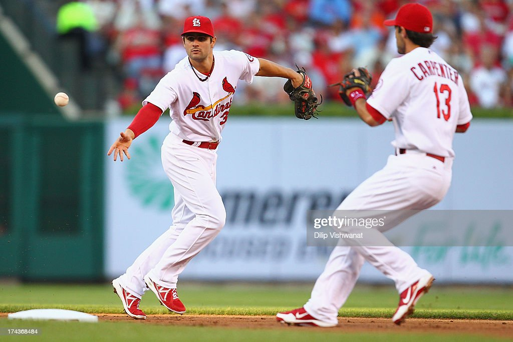<a gi-track='captionPersonalityLinkClicked' href=/galleries/search?phrase=Pete+Kozma&family=editorial&specificpeople=6800748 ng-click='$event.stopPropagation()'>Pete Kozma</a> #38 of the St. Louis Cardinals flips the ball to Matt Carpenter #13 also of the St. Louis Cardinals for a double play in the second inning at Busch Stadium on July 24, 2013 in St. Louis, Missouri.