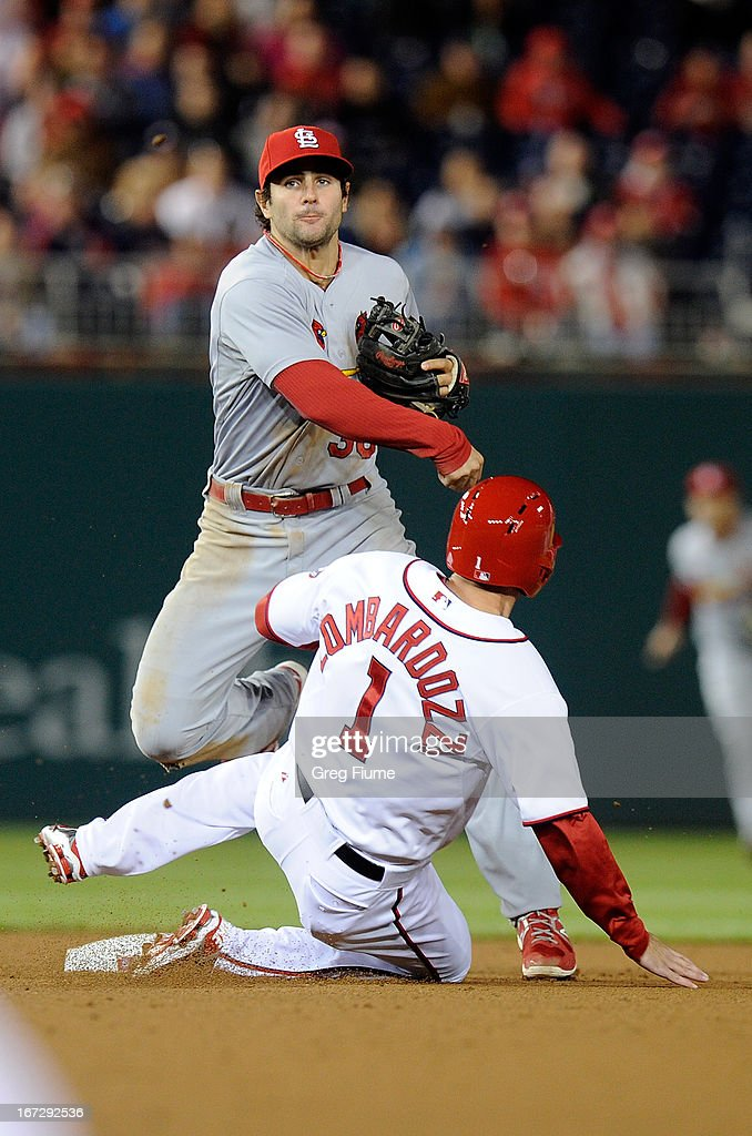 <a gi-track='captionPersonalityLinkClicked' href=/galleries/search?phrase=Pete+Kozma&family=editorial&specificpeople=6800748 ng-click='$event.stopPropagation()'>Pete Kozma</a> #38 of the St. Louis Cardinals forces out Steve Lombardozzi #1 of the Washington Nationals at second base in the eighth inning at Nationals Park on April 23, 2013 in Washington, DC.