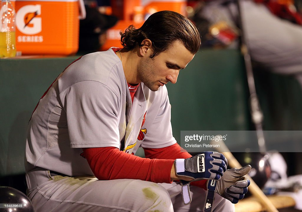 <a gi-track='captionPersonalityLinkClicked' href=/galleries/search?phrase=Pete+Kozma&family=editorial&specificpeople=6800748 ng-click='$event.stopPropagation()'>Pete Kozma</a> #38 of the St. Louis Cardinals sits in the dugout in the ninth inning while taking on the San Francisco Giants in Game Six of the National League Championship Series at AT&T Park on October 21, 2012 in San Francisco, California.