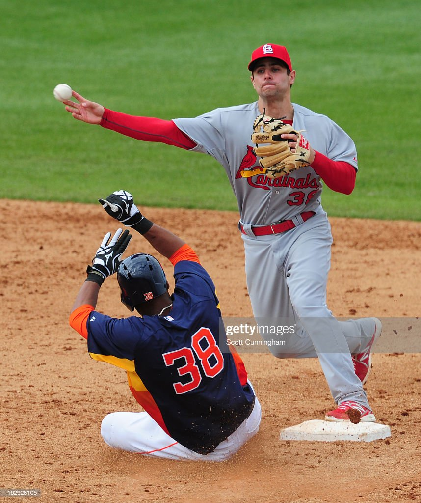 <a gi-track='captionPersonalityLinkClicked' href=/galleries/search?phrase=Pete+Kozma&family=editorial&specificpeople=6800748 ng-click='$event.stopPropagation()'>Pete Kozma</a> #38 of the St. Louis Cardinals turns a double play against Jimmy Paredes #38 of the Houston Astros a spring training game at Osceola County Stadium on March 1, 2013 in Kissimmee, Florida.