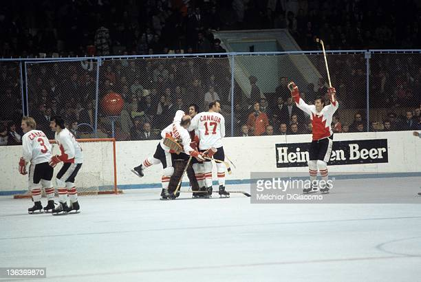 Pete Mahovlich Bill White goalie Ken Dryden Phil Esposito and Gary Bergman of Canada celebrate after winning Game 6 of the 1972 Summit Series on...
