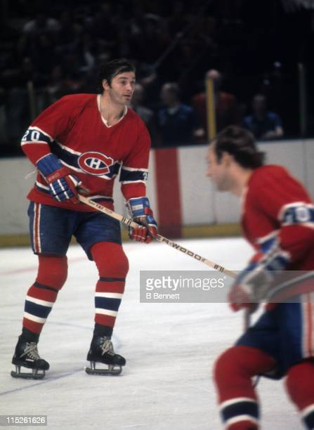 Pete Mahovlich of the Montreal Canadiens skates on the ice during an NHL game against the New York Rangers on December 12 1976 at the Madison Square...