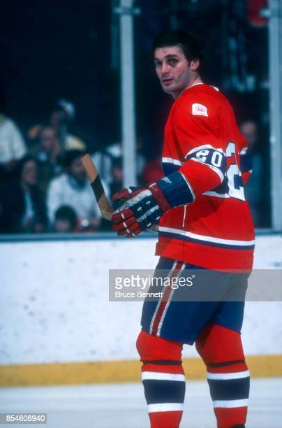 Pete Mahovlich of the Montreal Canadiens skates on the ice during an NHL game against the New York Islanders circa 1976 at the Nassau Coliseum in...