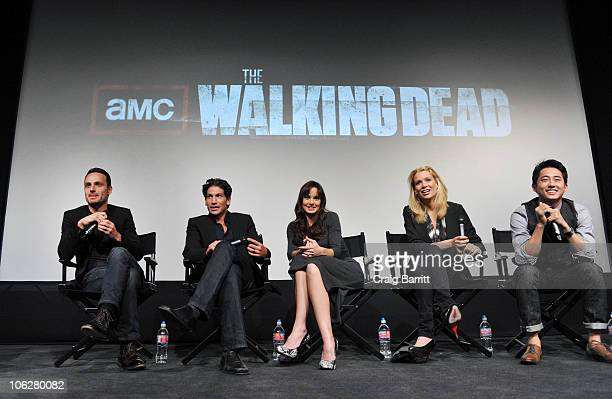 Pete Mammond Andrew Lincoln Jon Benthal Sarah Wayne Callies Laurie Holden Steven Yeun and Norman Reedus attend 'The Walking Dead' Screening And Panel...