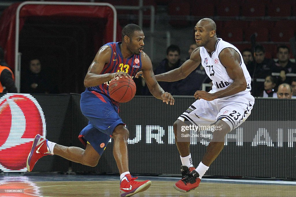 Pete Mickael #33 of FC Barcelona Regal competes with Patrick Christopher #23 of Besiktas JK Istanbul during the 2012-2013 Turkish Airlines Euroleague Top 16 Date 4 between Besiktas JK Istanbul v FC Barcelona Regal at Abdi Ipekci Sports Arena on January 17, 2013 in Istanbul, Turkey.