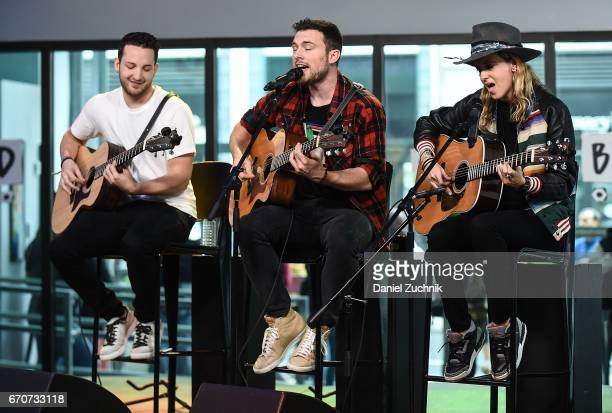 Pete Nappi Ethan Thompson and Samantha Ronson of the group Ocean Park Standoff perform during the the Build Series at Build Studio on April 20 2017...
