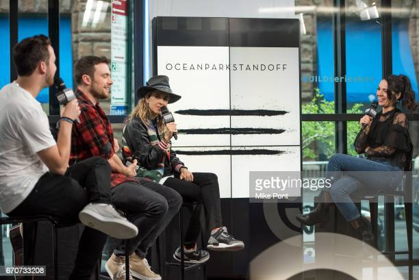 Pete Nappi Ethan Thompson and Samantha Ronson of the group Ocean Park Standoff attend the Build Series to discuss their debut album at Build Studio...