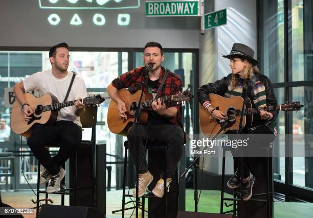 Pete Nappi Ethan Thompson and Samantha Ronson of the group Ocean Park Standoff Perform at Build Studio on April 20 2017 in New York City