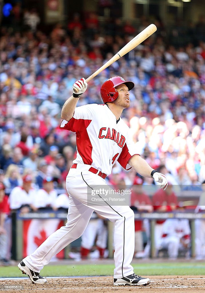 Pete Orr of Canada bats against USA during the World Baseball Classic First Round Group D game at Chase Field on March 10 2013 in Phoenix Arizona USA...