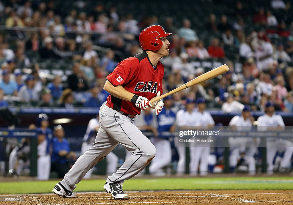 Pete Orr of Canada hits a RBI double against Italy during the second inning of the World Baseball Classic First Round Group D game at Chase Field on...