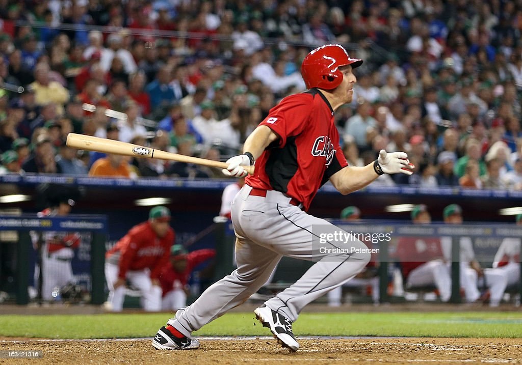 Pete Orr of Canada hits a RBI single against Mexico during the sixth inning of the World Baseball Classic First Round Group D game at Chase Field on...